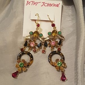 Betsey Johnson dangle tortoise ring gem NWT